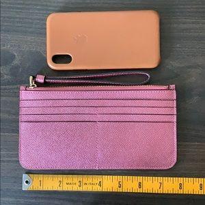 Coach Metallic Pink Long Flat Cardholder